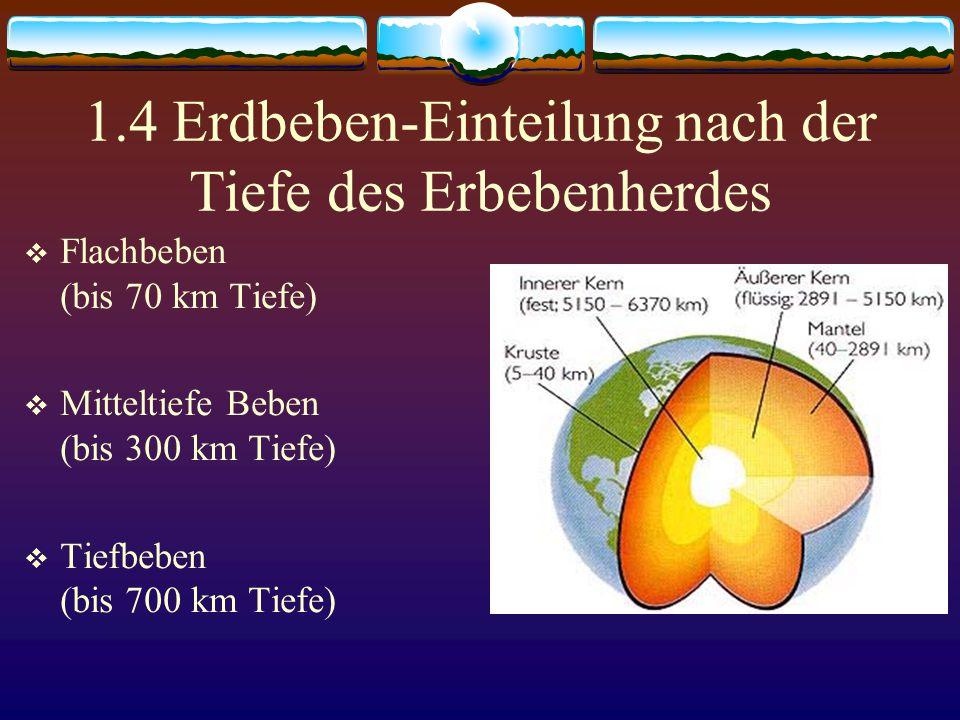 1.4 Erdbeben-Einteilung nach der Tiefe des Erbebenherdes