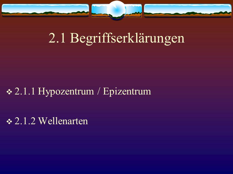 2.1 Begriffserklärungen 2.1.1 Hypozentrum / Epizentrum