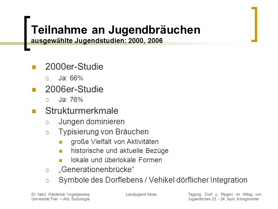 Teilnahme an Jugendbräuchen ausgewählte Jugendstudien: 2000, 2006