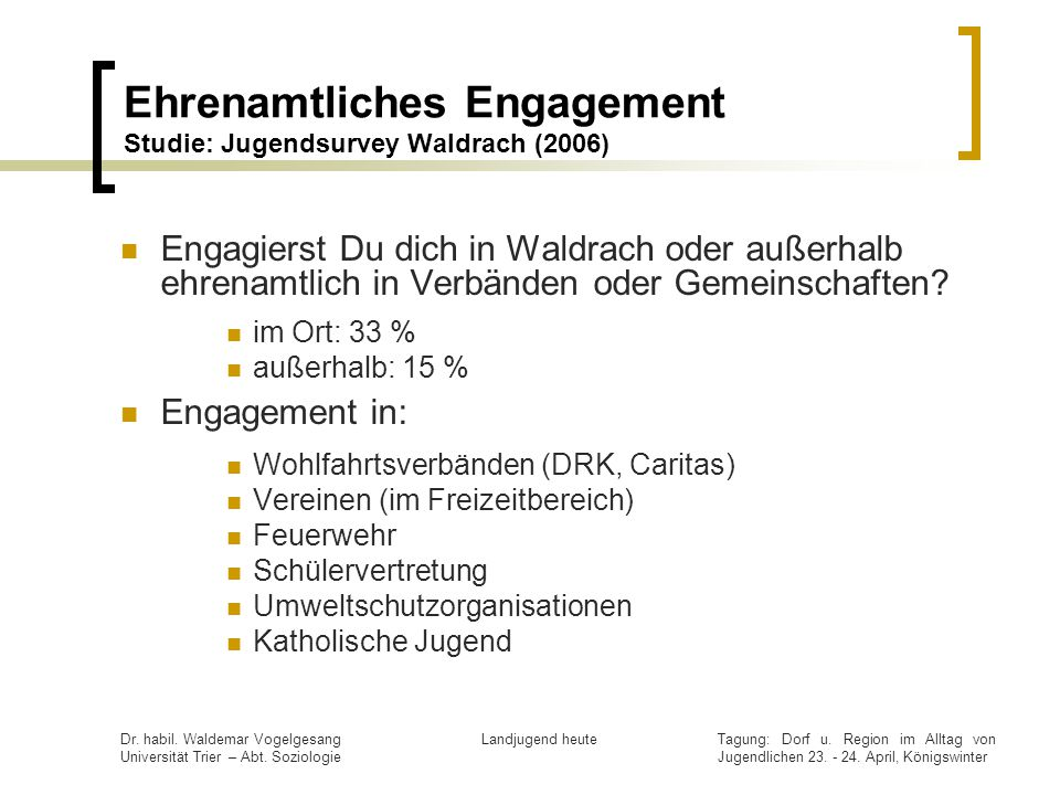 Ehrenamtliches Engagement Studie: Jugendsurvey Waldrach (2006)