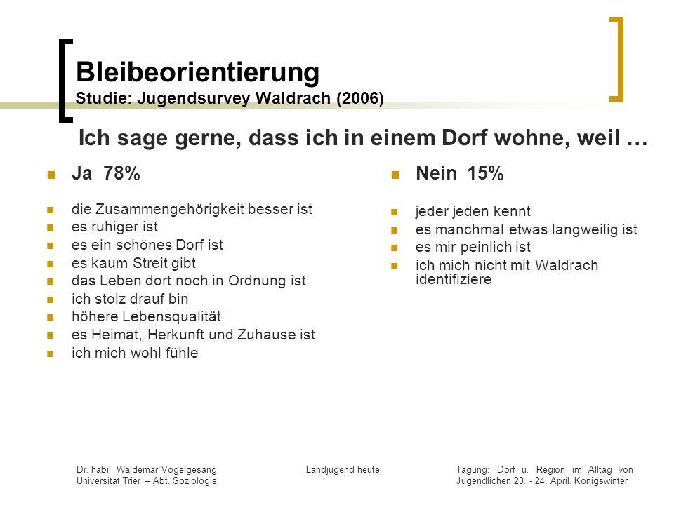 Bleibeorientierung Studie: Jugendsurvey Waldrach (2006)