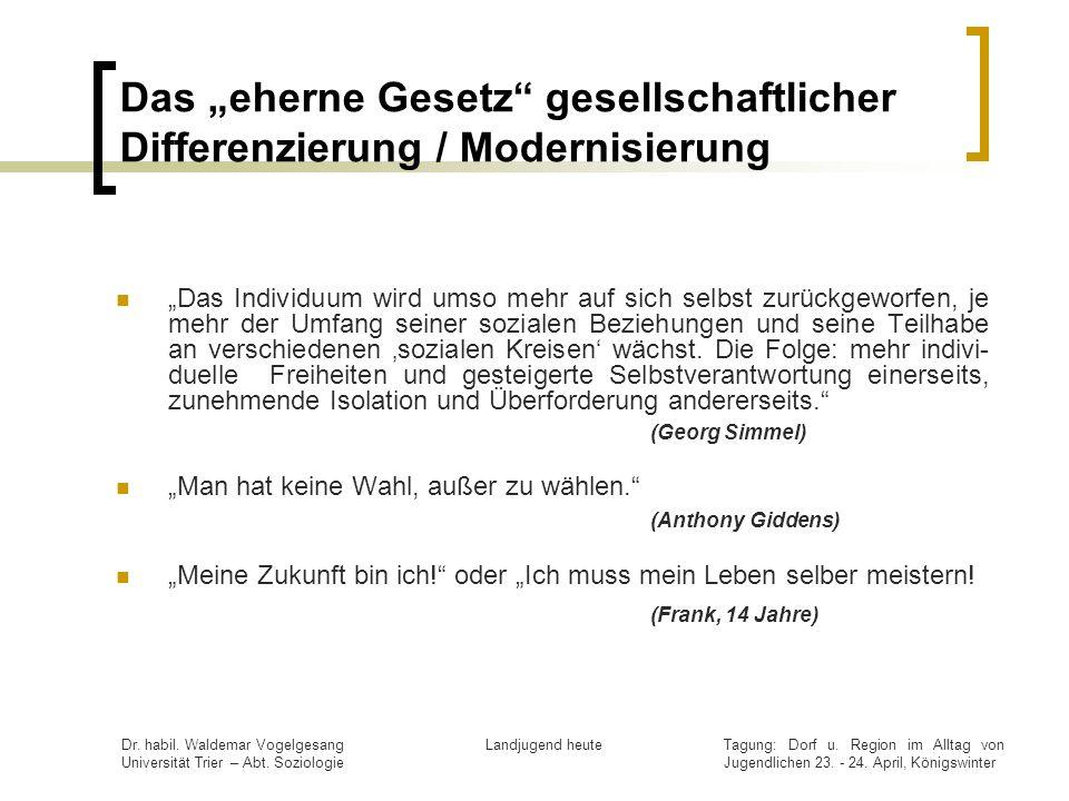 """Das """"eherne Gesetz gesellschaftlicher Differenzierung / Modernisierung"""