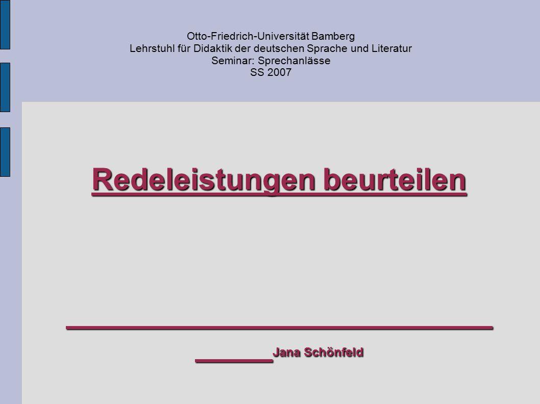 Redeleistungen beurteilen Jana Schönfeld