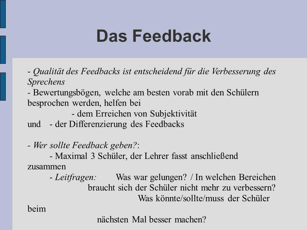 Das Feedback - Qualität des Feedbacks ist entscheidend für die Verbesserung des Sprechens.