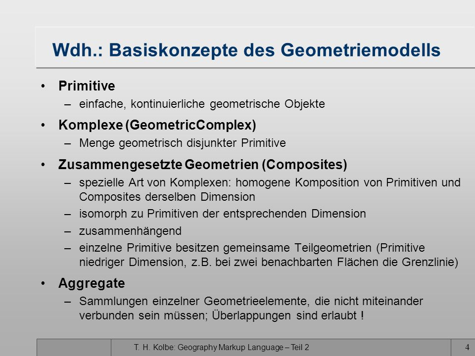 Wdh.: Basiskonzepte des Geometriemodells