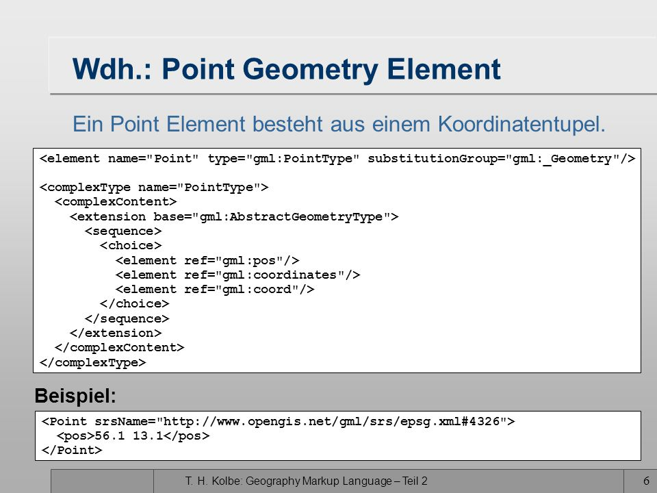 Wdh.: Point Geometry Element