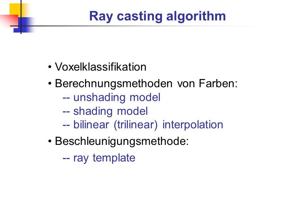 Ray casting algorithm Voxelklassifikation