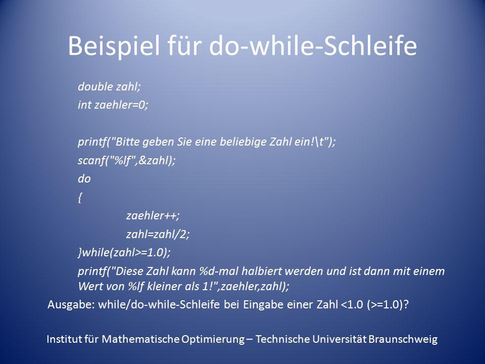 Beispiel für do-while-Schleife