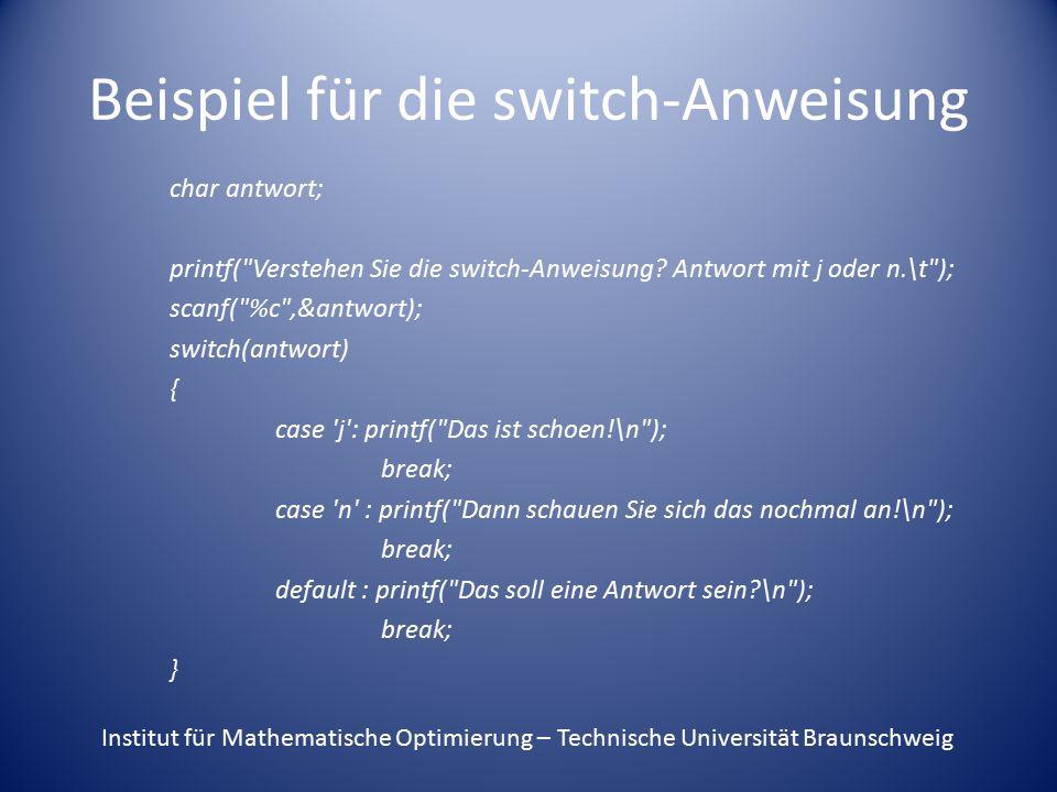 Beispiel für die switch-Anweisung
