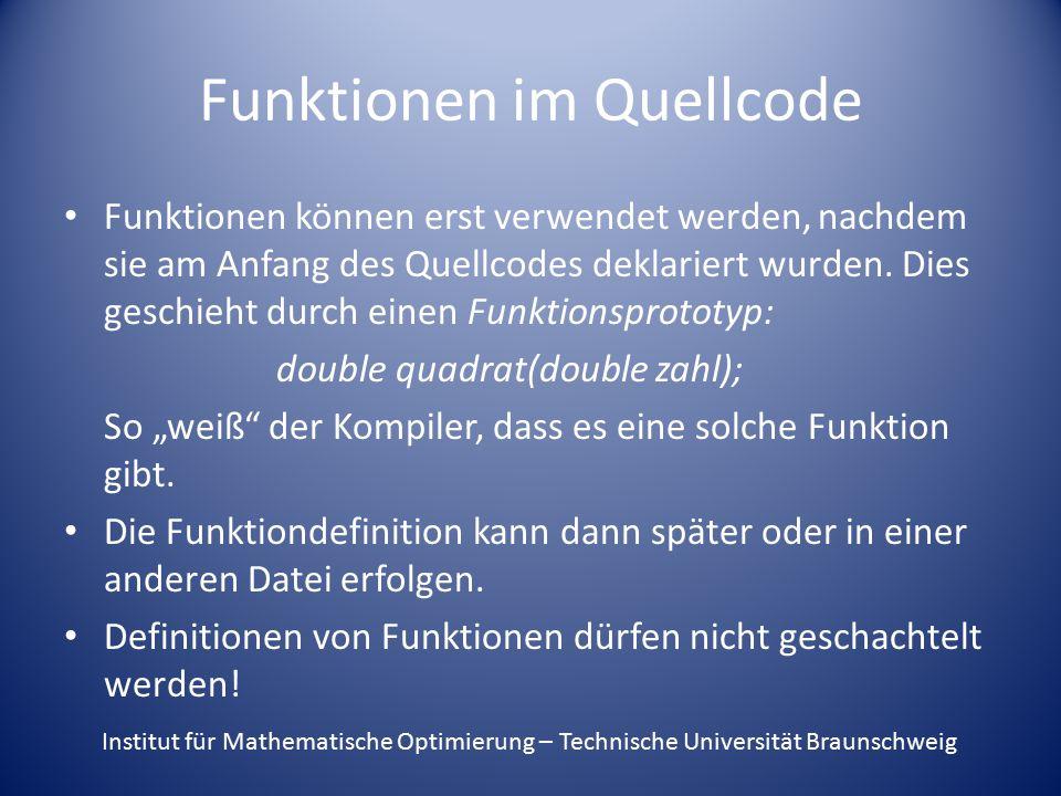 Funktionen im Quellcode