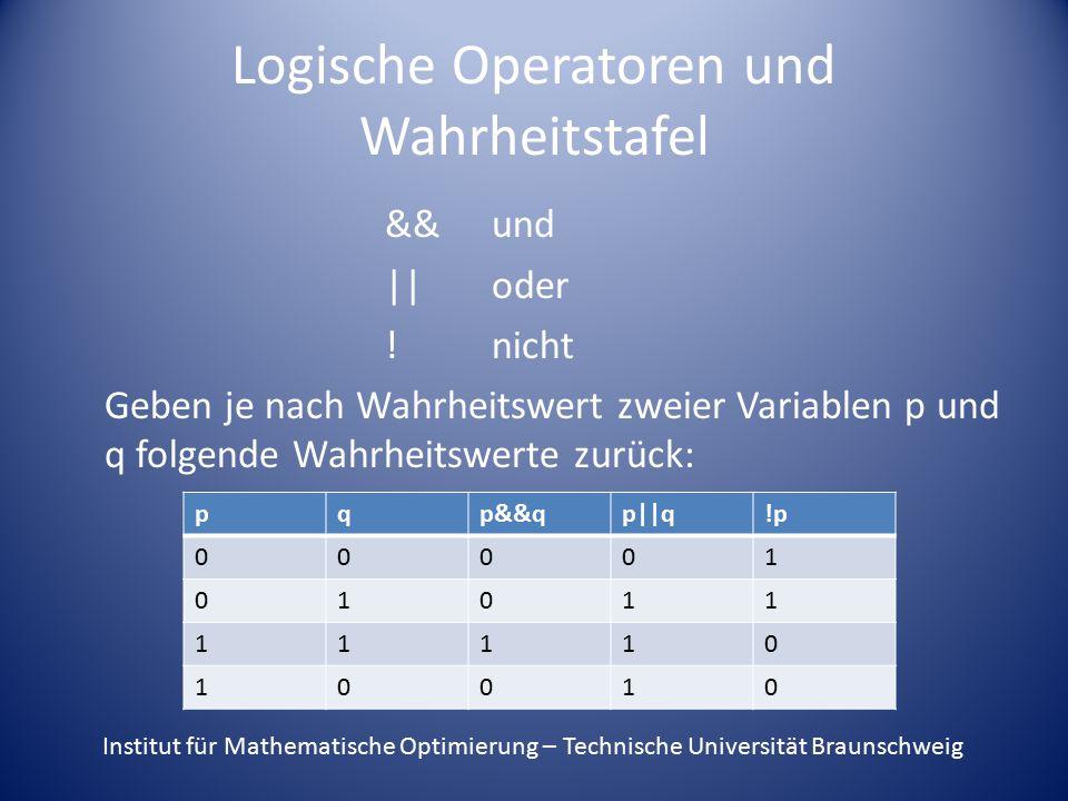 Logische Operatoren und Wahrheitstafel