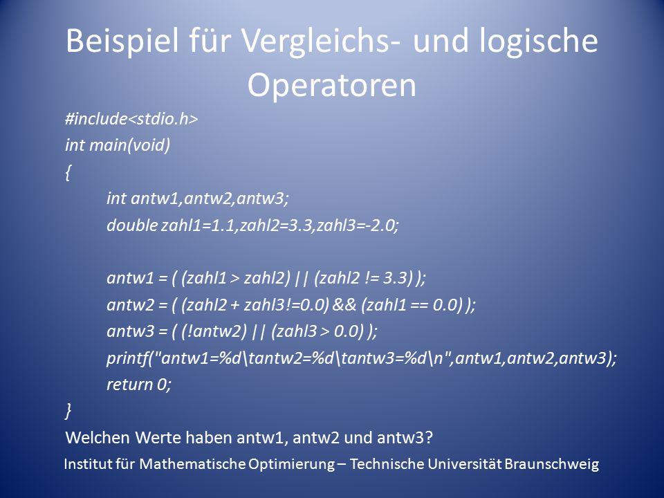 Beispiel für Vergleichs- und logische Operatoren