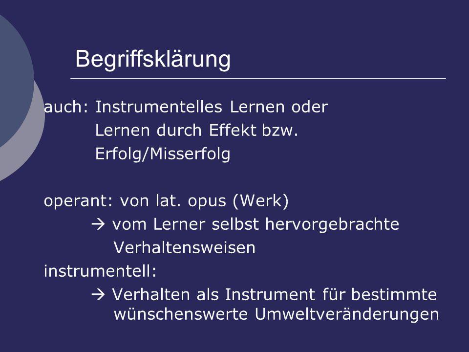 Begriffsklärung auch: Instrumentelles Lernen oder