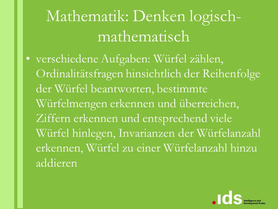 Mathematik: Denken logisch-mathematisch