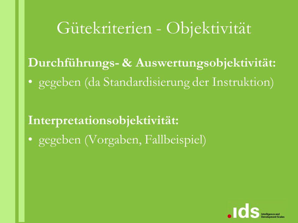 Gütekriterien - Objektivität