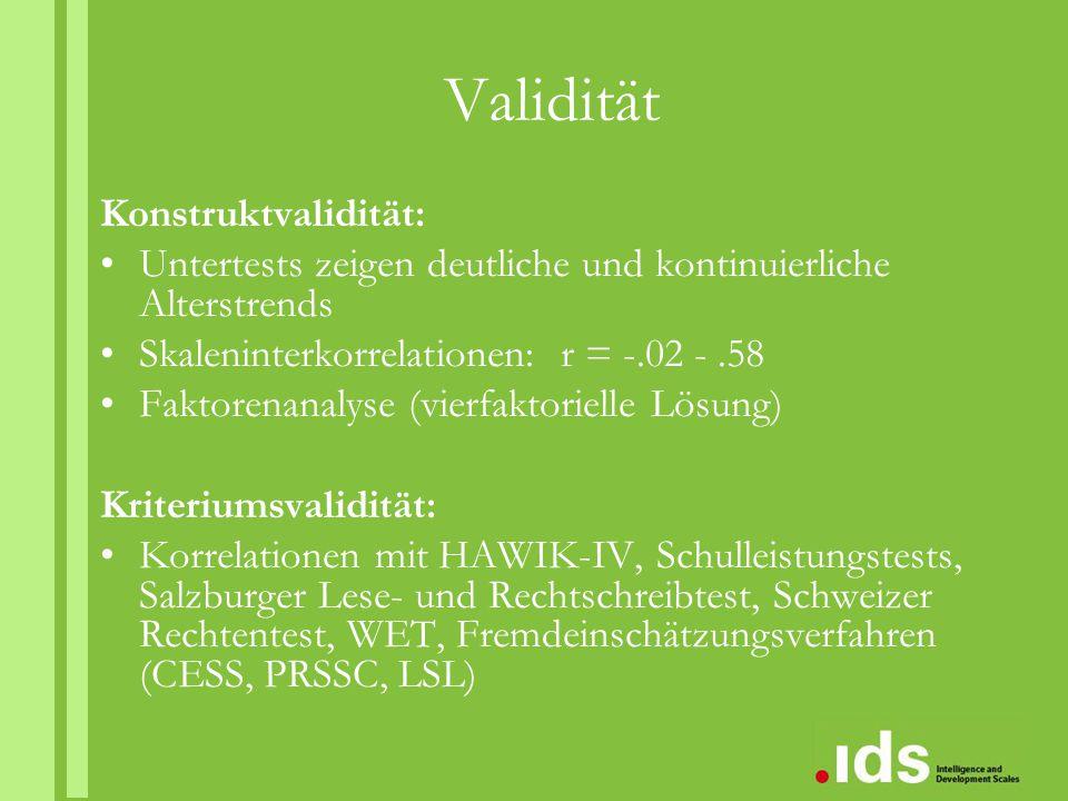 Validität Konstruktvalidität: