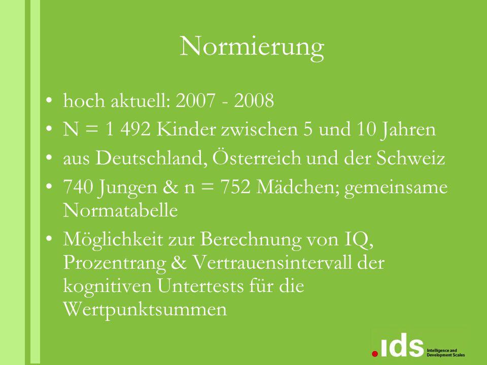 Normierung hoch aktuell: 2007 - 2008