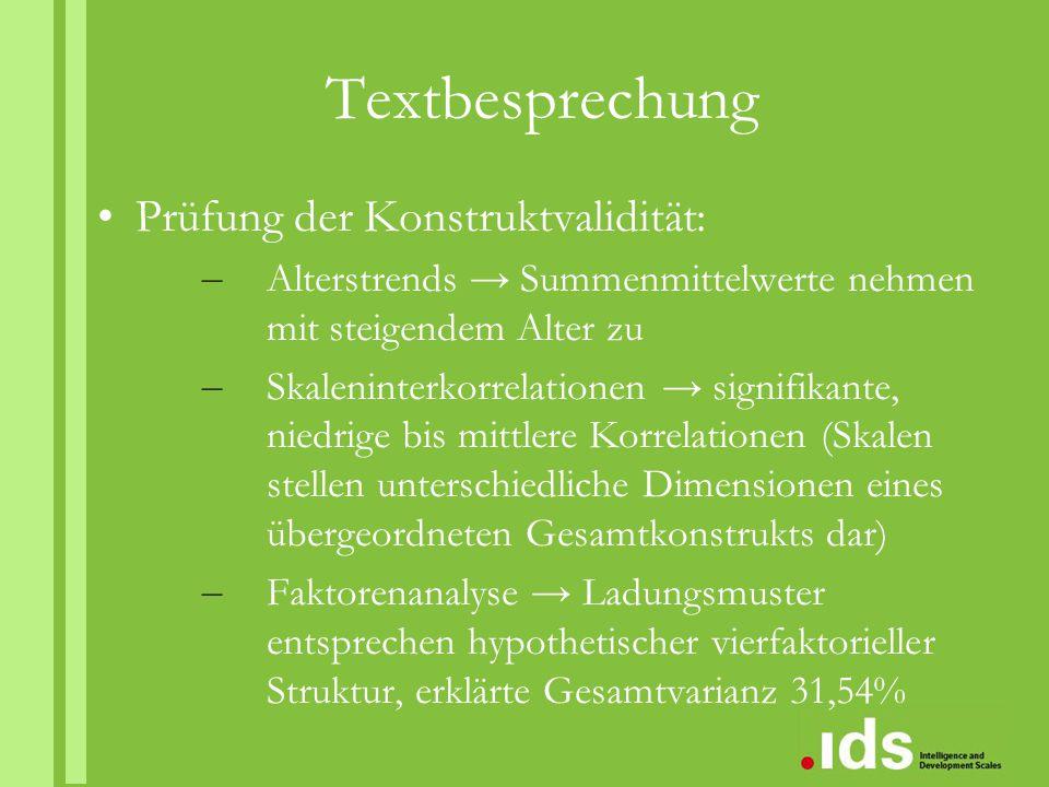 Textbesprechung Prüfung der Konstruktvalidität: