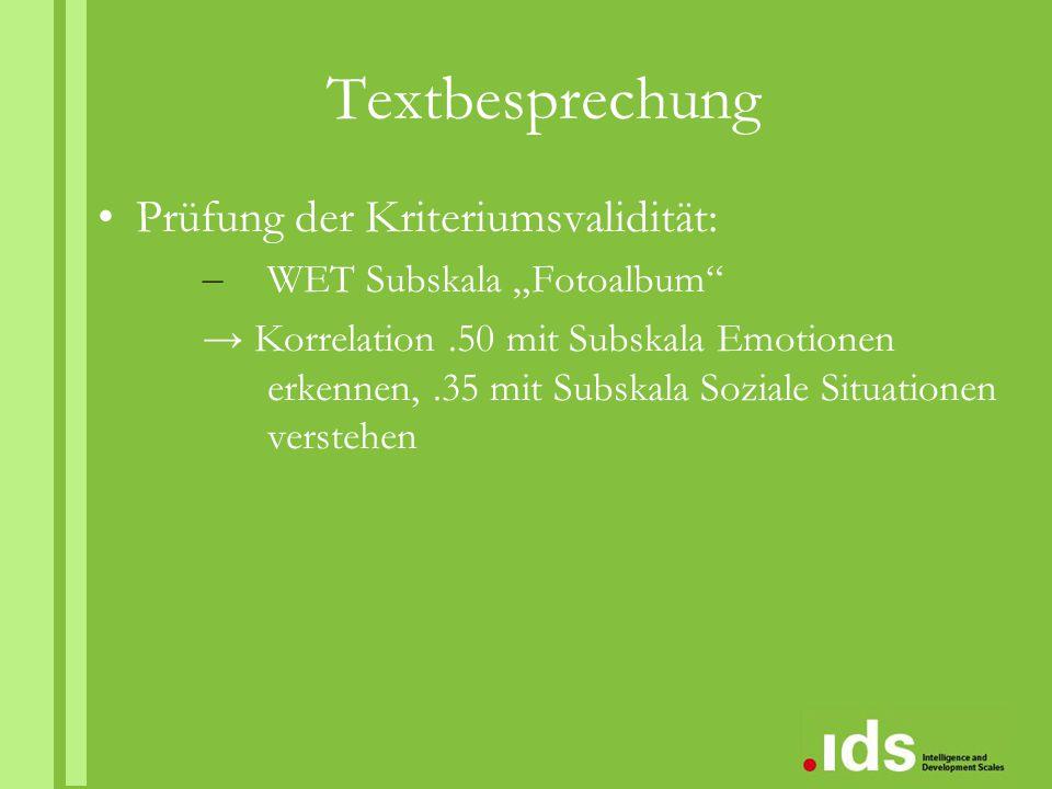 Textbesprechung Prüfung der Kriteriumsvalidität: