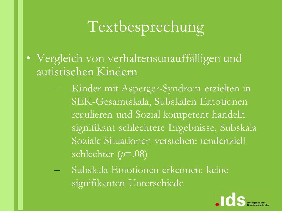 Textbesprechung Vergleich von verhaltensunauffälligen und autistischen Kindern.