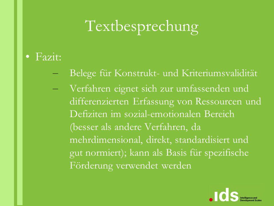 Textbesprechung Fazit: Belege für Konstrukt- und Kriteriumsvalidität