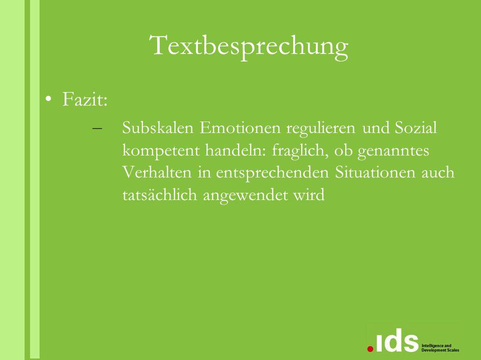 Textbesprechung Fazit: