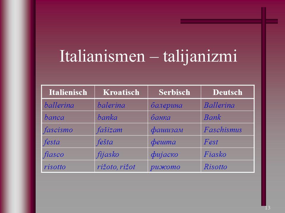 Italianismen – talijanizmi