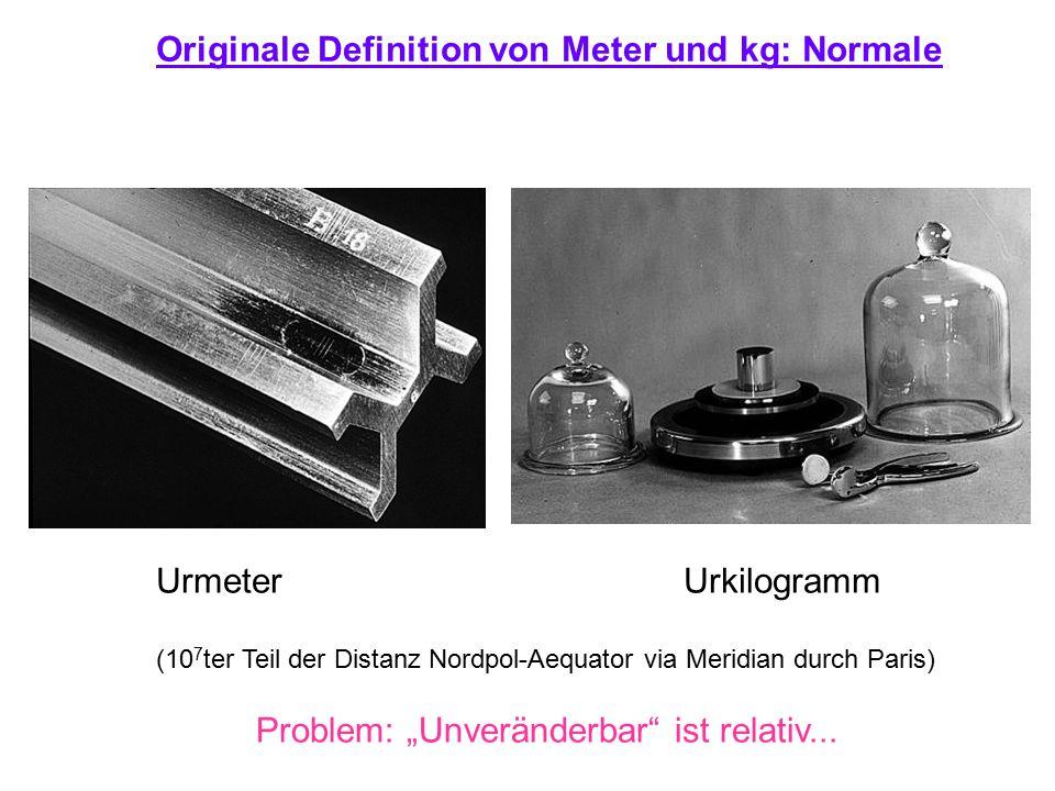 Originale Definition von Meter und kg: Normale