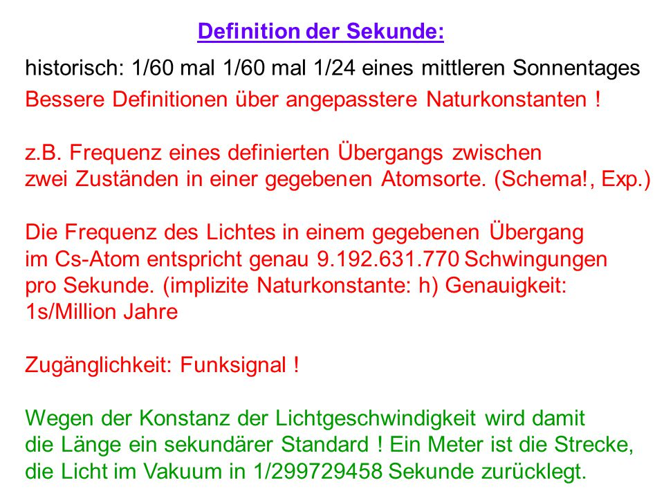 Definition der Sekunde: