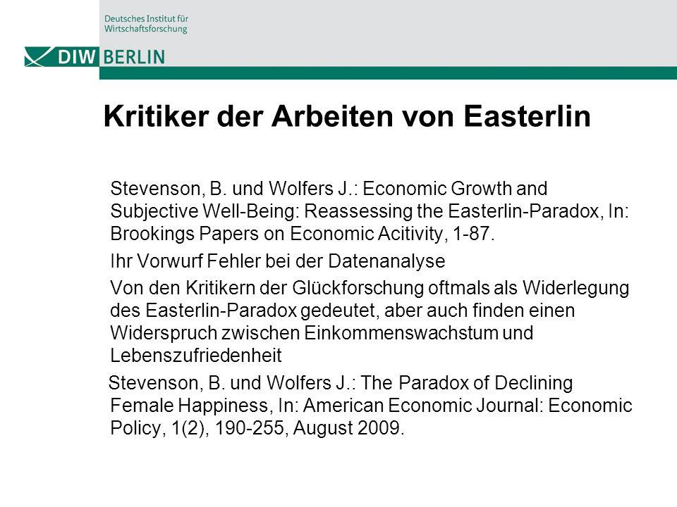 Kritiker der Arbeiten von Easterlin