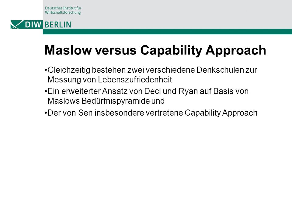 Maslow versus Capability Approach