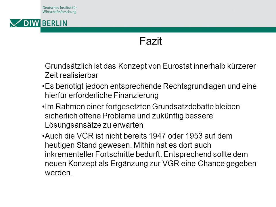 Fazit Grundsätzlich ist das Konzept von Eurostat innerhalb kürzerer Zeit realisierbar.