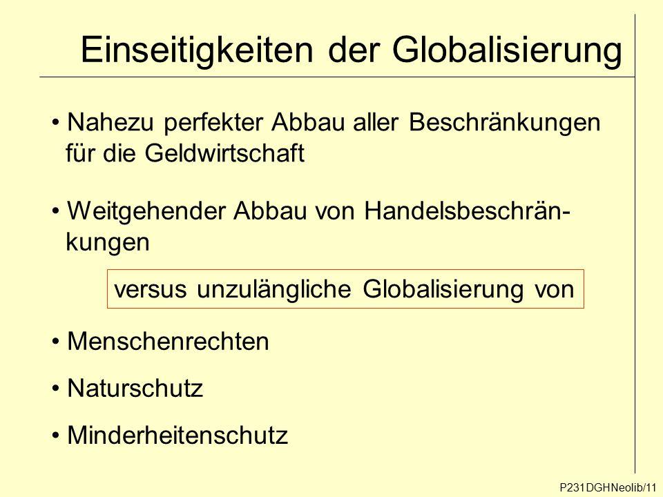 Einseitigkeiten der Globalisierung