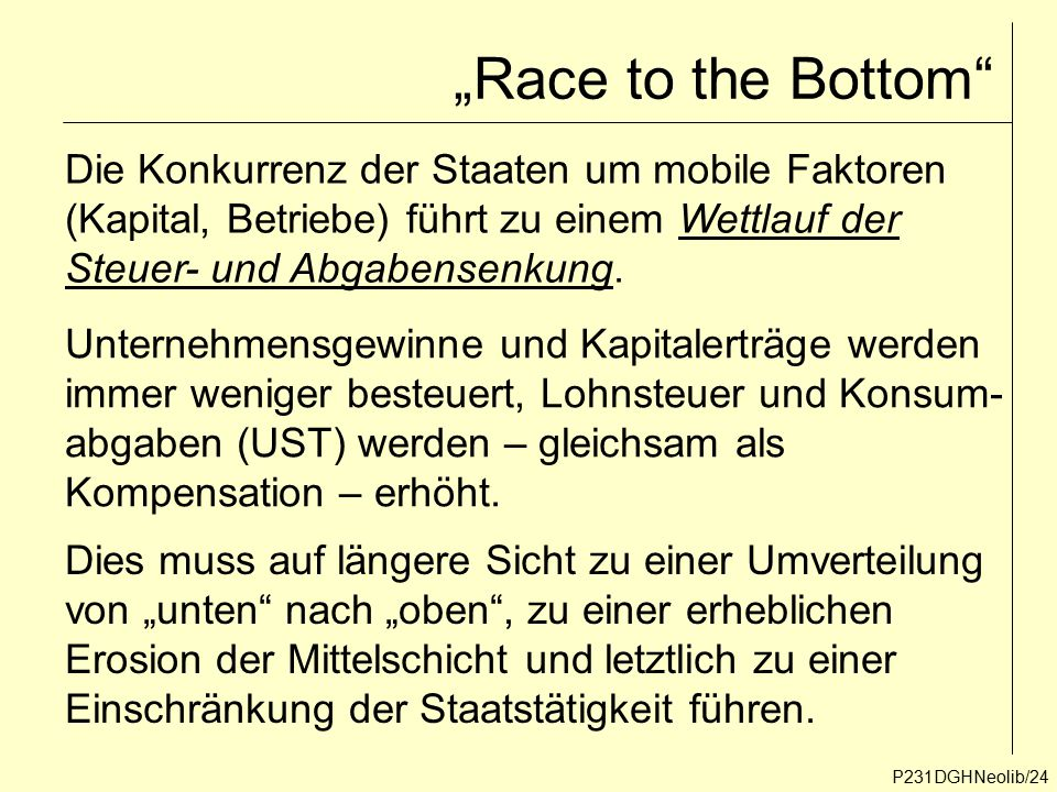 """Race to the Bottom Die Konkurrenz der Staaten um mobile Faktoren"