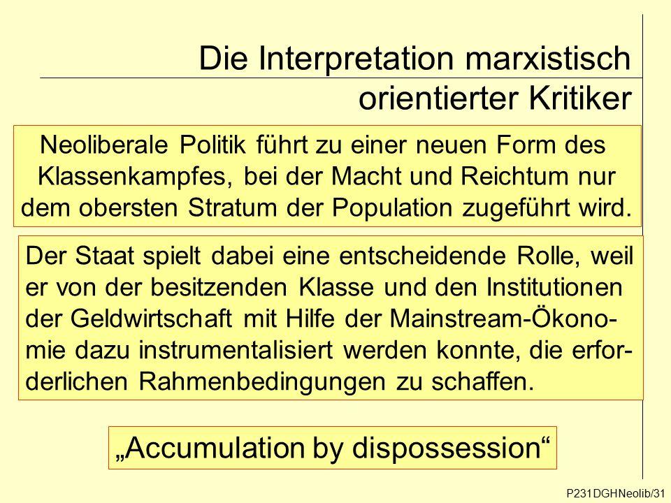 Die Interpretation marxistisch orientierter Kritiker