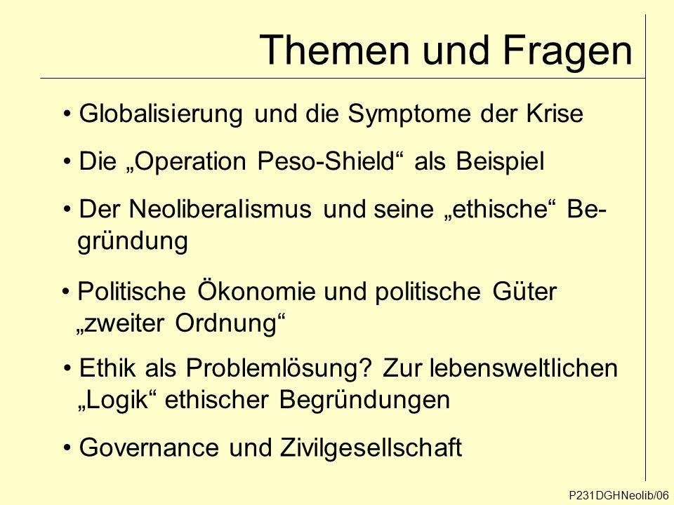 Themen und Fragen Globalisierung und die Symptome der Krise