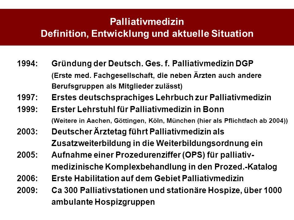 Palliativmedizin Definition, Entwicklung und aktuelle Situation
