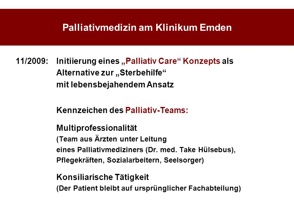 Palliativmedizin am Klinikum Emden