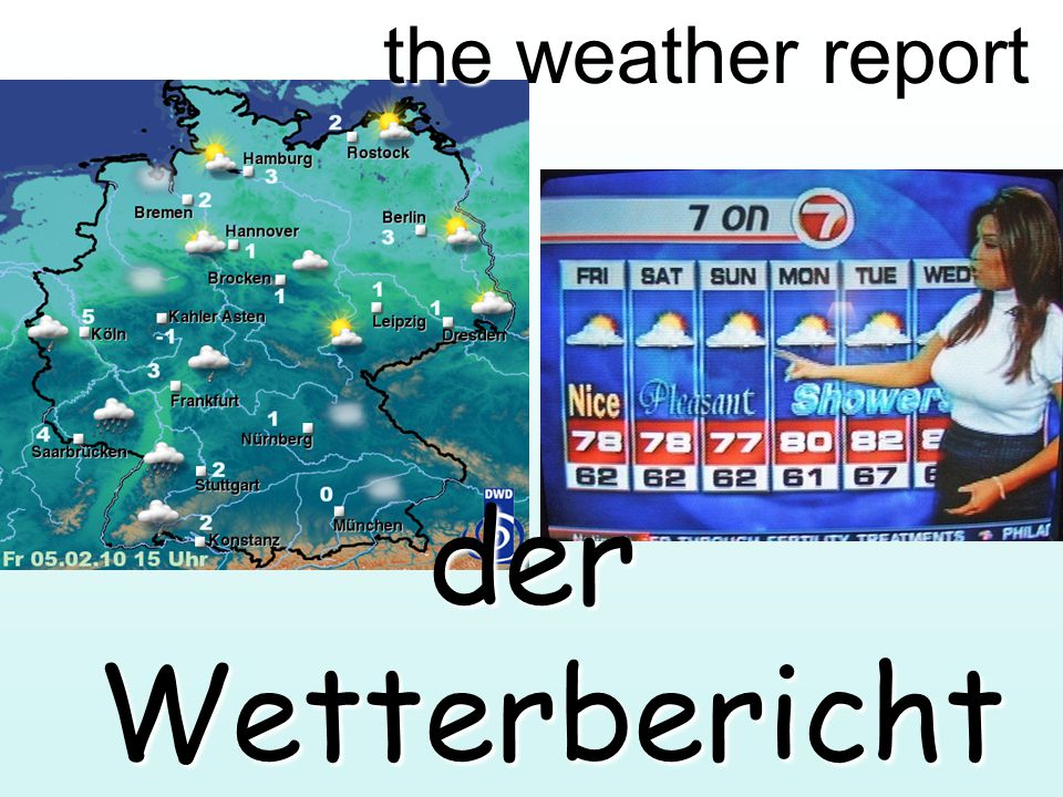 the weather report der Wetterbericht