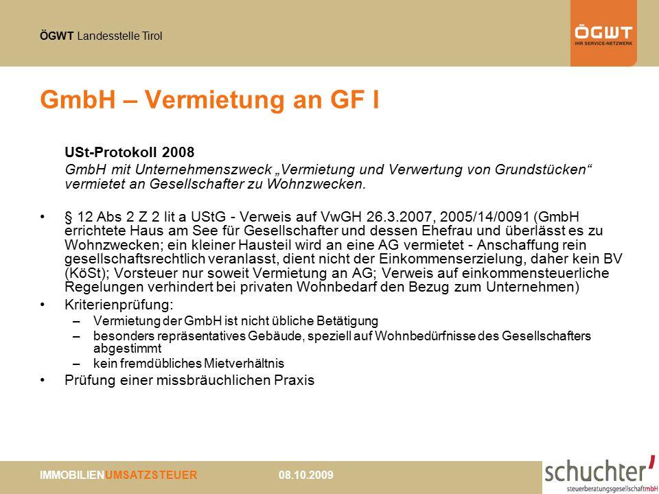 GmbH – Vermietung an GF I