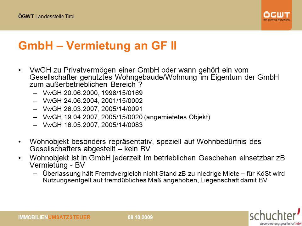GmbH – Vermietung an GF II