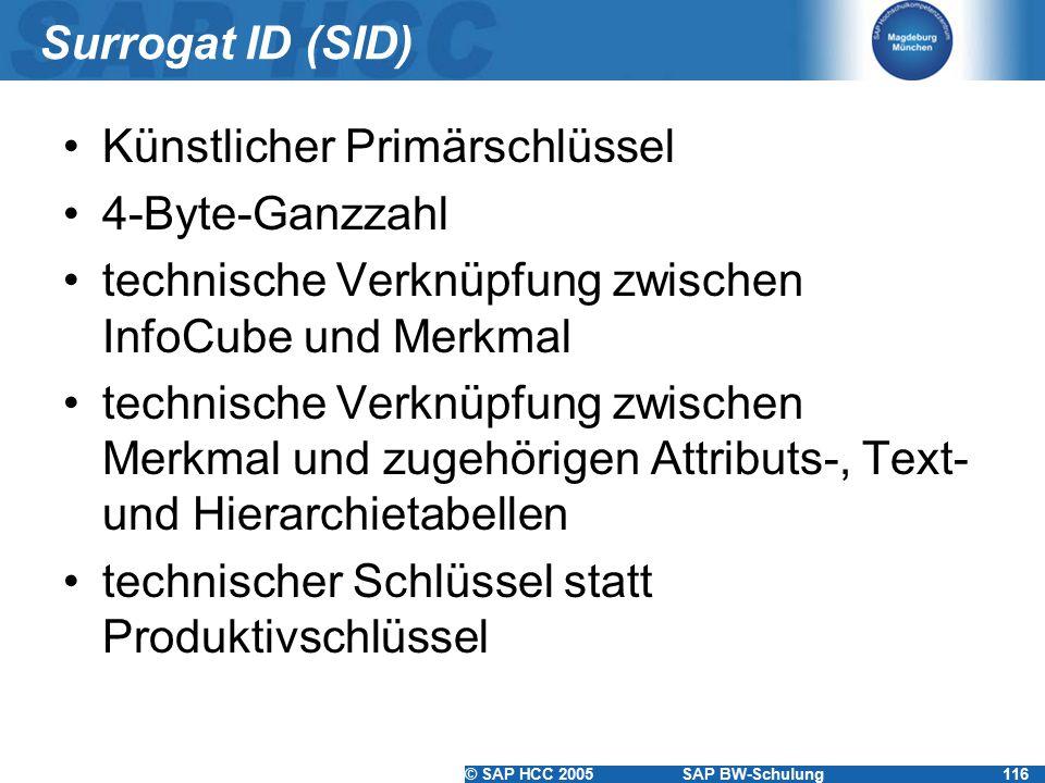 Surrogat ID (SID) Künstlicher Primärschlüssel. 4-Byte-Ganzzahl. technische Verknüpfung zwischen InfoCube und Merkmal.