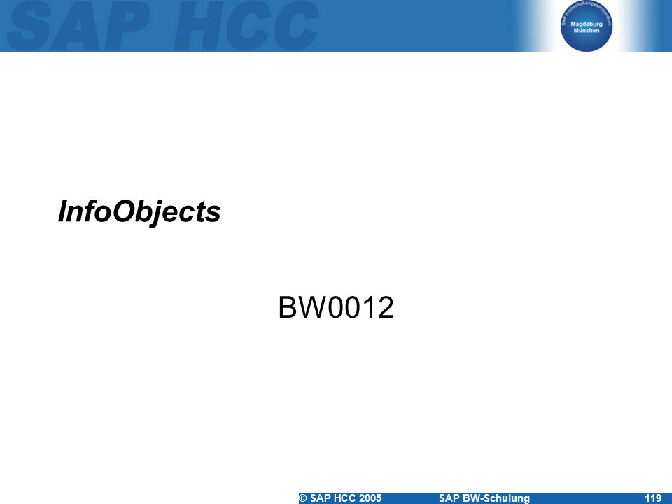 InfoObjects BW0012