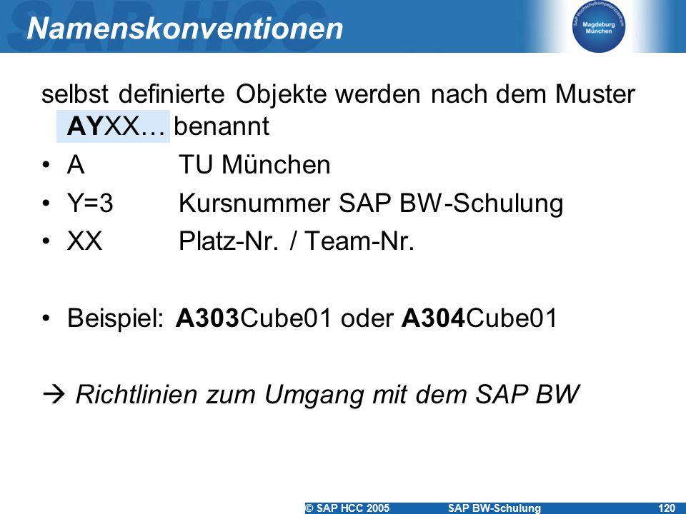 Namenskonventionen selbst definierte Objekte werden nach dem Muster AYXX… benannt. A TU München. Y=3 Kursnummer SAP BW-Schulung.