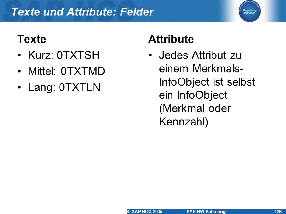 Texte und Attribute: Felder