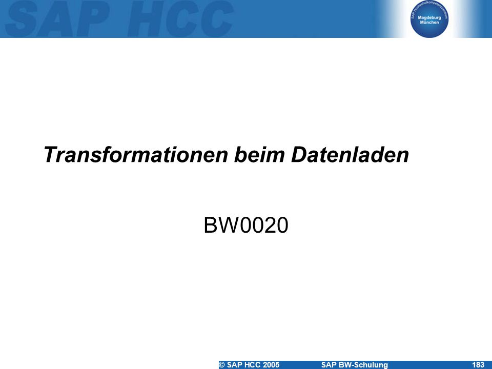 Transformationen beim Datenladen