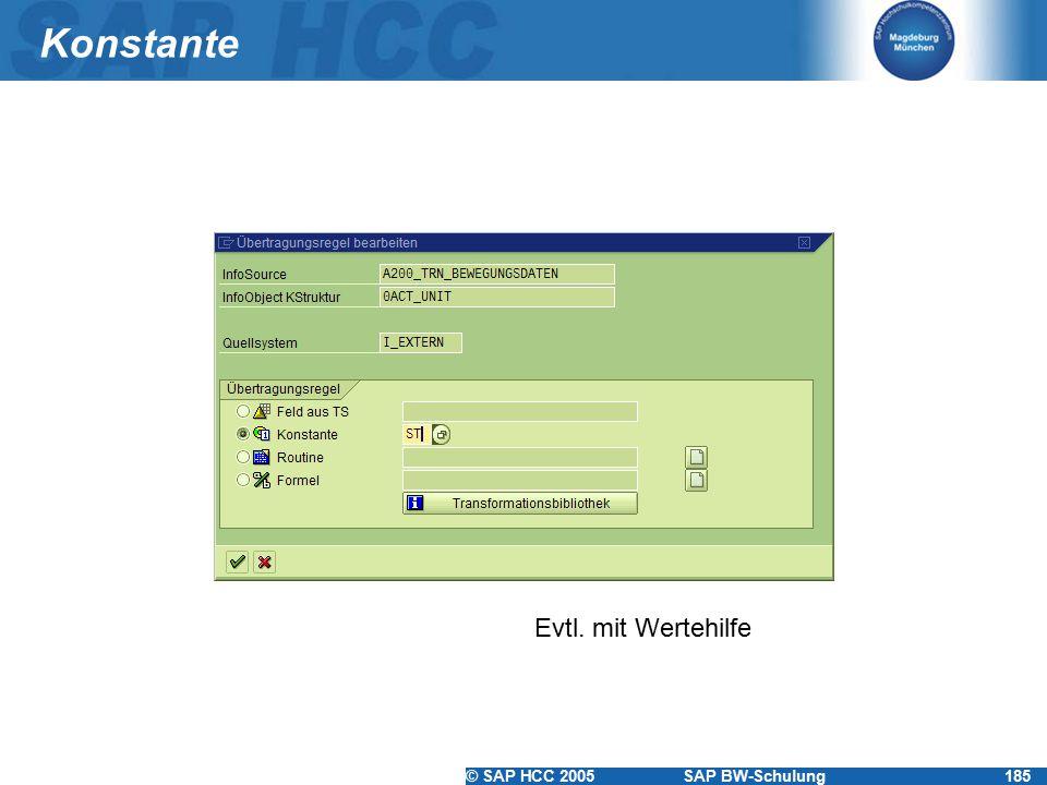 Konstante Evtl. mit Wertehilfe
