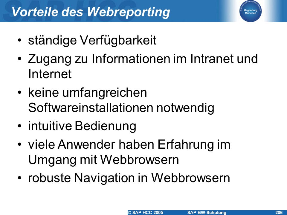 Vorteile des Webreporting