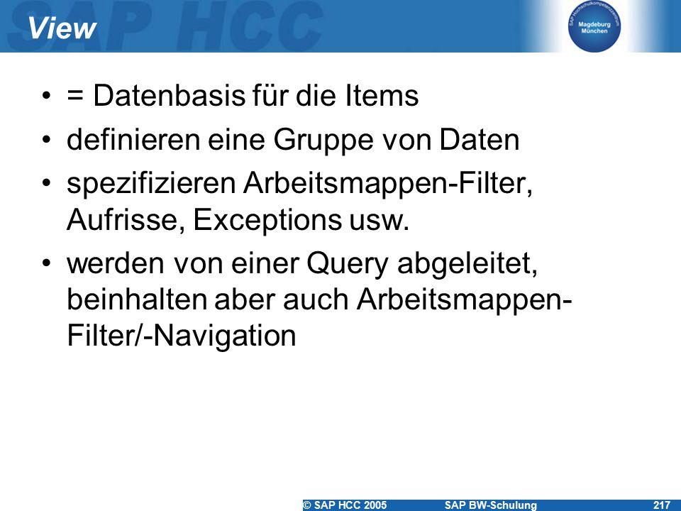 View = Datenbasis für die Items. definieren eine Gruppe von Daten. spezifizieren Arbeitsmappen-Filter, Aufrisse, Exceptions usw.
