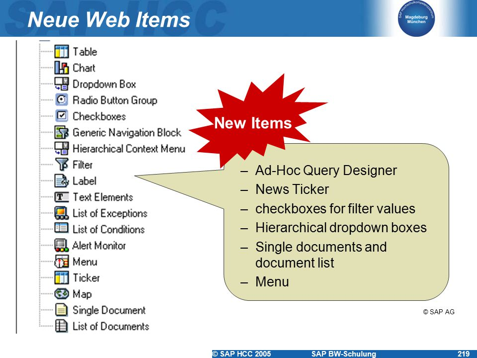 Neue Web Items New Items Ad-Hoc Query Designer News Ticker